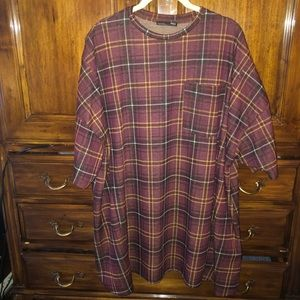 Zara plaid oversized top or dress NWOT